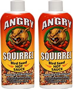 Angry Squirrel Bird Seed Hot Sauce, 8oz, for Up to 35 Pounds of Bird Seed, 2-Pack