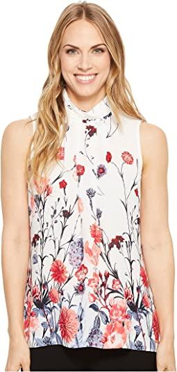 Ivanka Trump Georgette Mock Neck Sleeveless Printed Blouse