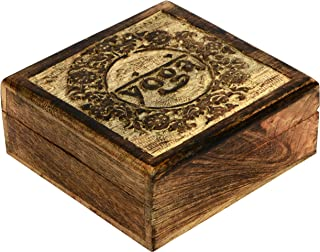 SAAGA Wooden Multipurpose Jewelry Box Keepsake Trinket Treasure Square Watch Box with Yoga Carving | 5x5 inches