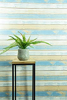 Textured Peel and Stick Wallpaper by Happy House – Faux Distressed Wood (Blue) for Accent Wall – Easy Hang Self Adhesive Contact Vinyl - Temporary Removable Wallpaper Stick and Peel Backsplash