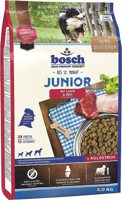 Bosch HPC Junior con cordero y arroz   Alimento seco para perros para criar cachorros nutricionalmente sensibles, 1 x 3 kg