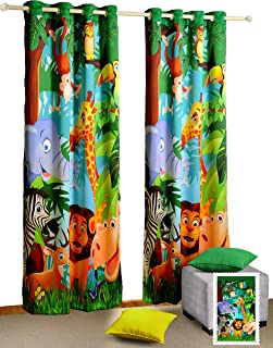 """Jungle Animals Window Curtains - Set of 2 Curtain Panels for a Baby Nursery or Toddler or Kids Bedroom - 48"""" x 60"""" panels..."""