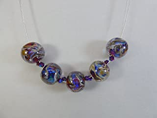 Multicolor Artisan Lampwork Dichroic Bead ZigZag Necklace with Swarovski Accents and Sterling Silver Findings