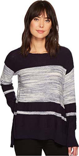 TWO by Vince Camuto - Long Sleeve Blocked Space Dye Stripe Sweater