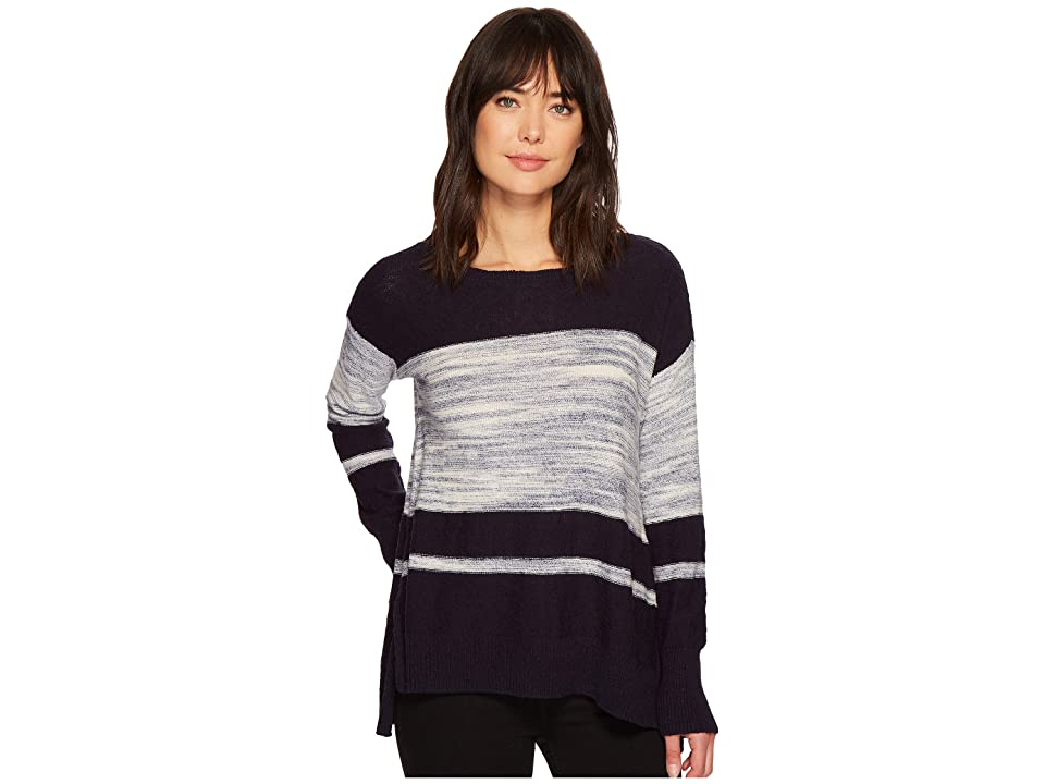 TWO by Vince Camuto Long Sleeve Blocked Space Dye Stripe Sweater (Blue Night) Women