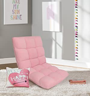 Chic Home Daphene Lounge Adjustable Recliner Rocker Memory Foam Armless Floor Gaming Ergonomic Chair, Pink