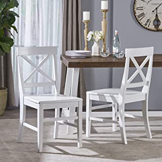 Christopher Knight Home Truda Farmhouse White Finish Acacia Wood Dining Chairs
