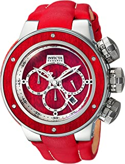 Men's Reserve Stainless Steel Analog-Quartz Watch with Leather Calfskin Strap, red, 27 (Model: 24435)
