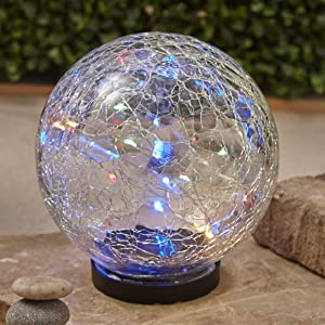 The Lakeside Collection Multicolor Solar Crackle Garden Globe with Fairy Lights - Large