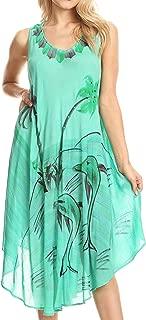 Sakkas Valentina Summer Casual Light Cover-up Caftan Dress with Tropical Print