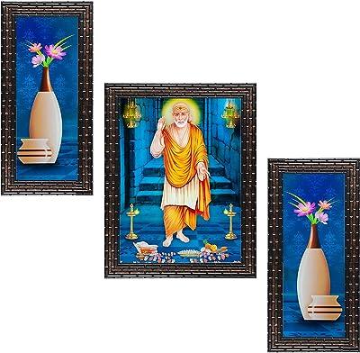 Indianara Set of 3 Shirdi Sai Baba Framed Painting (3475GB) without glass 6 X 13, 10.2 X 13, 6 X 13 INCH