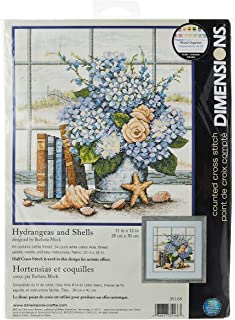 """Dimensions 'Hydrangeas and Sea Shells' Counted Cross Stitch Kit, 14 Count White Aida, 11"""" x 12"""""""