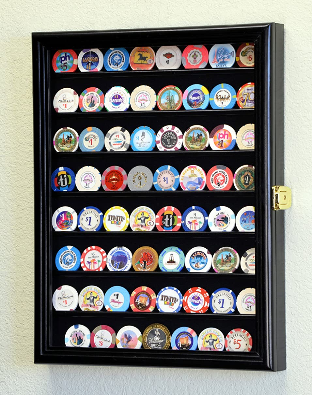 64 Casino Chip Coin Display Case Cabinet Chips Holder Wall Rack 98% UV Lockable -Black