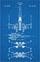 Inked and Screened X-Wing Screen Print, 11 x 17, Blue Grid