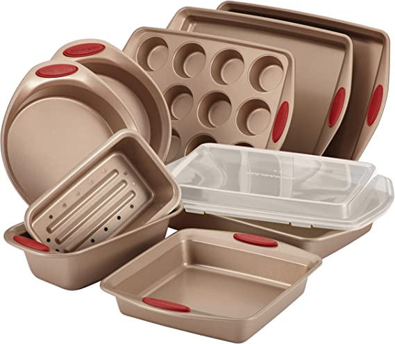 Rachael Ray Cucina Nonstick Bakeware Set Baking Cookie Sheets Cake Muffin Bread Pan, 10 Piece, Latte Brown with Cranberry Red Grips