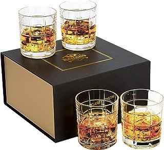 KANARS Whiskey Gläser Set, Bleifrei Kristallgläser, Whisky Glas, 4-teiliges, 300ml, Luxuriös Geschenk