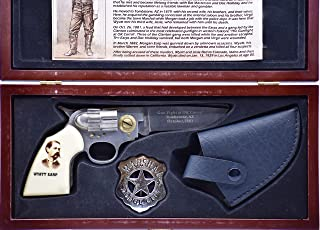 Wyatt Earp - Legends of the West - Knife Set - Gun-Shaped Knife/Marshal Badge Leather Holster - Wooden Display Box - Collectible