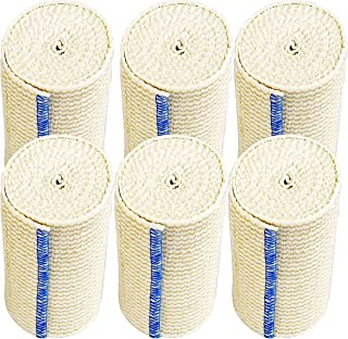"""NexSkin Elastic Compression Wrap (4"""" Wide, 6 Pack) with Hook and Loop Fasteners at Both Ends   Stretch Cotton Athletic Bandage Roll   Support & First Aid for Sports, Medical, and Injury Recovery"""