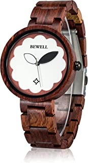BEWELL Womens Wood Watches Quartz Fashion Large Face Dress Watch for Ladies W152A