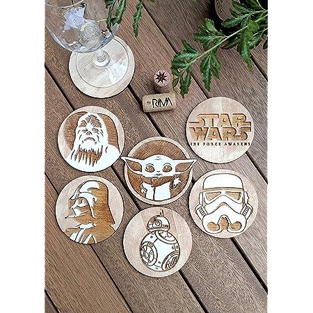 Star Wars Rimmed Coaster Coasters Star Wars Themed Coasters Stormtropper Baby Yoda Obi Wan Kanobi Yoda Cork Coasters Princess Leia