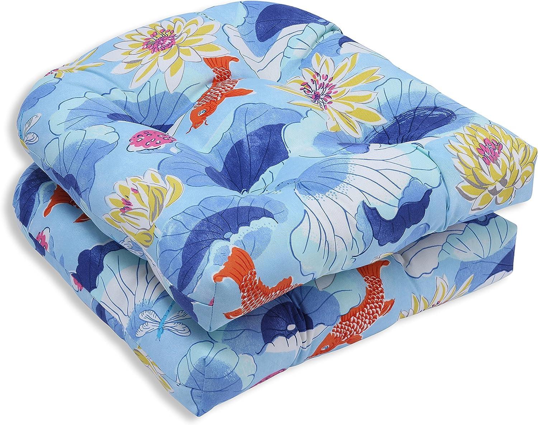 Pillow Perfect Outdoor Indoor Lotus Lake Wicker Seat Cushion (Set of 2), Cobalt
