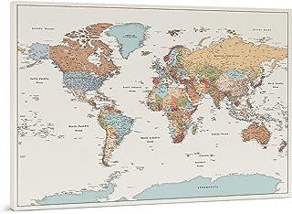 Planisfero da Parete - Dettagliato Cartina Geografica Del Mondo con Puntine - Stampa su Tela - Diario di Viaggio - 3 Dimen...