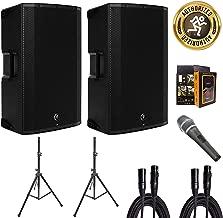 "Mackie Thump15A 1300W 15"" DJ PA Active/Powered Loudspeaker Bundle w/ 2 Speakers, 2 Speaker Stands, 2 XLR Cables, Microphone, Mobile Bracket"