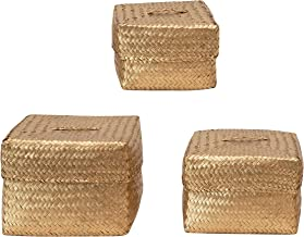 Creative Co-Op Hand-Woven Seagrass Baskets with Lids, Gold Color, Set of 3 Storage Box, 3