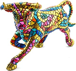 Decorative figure BULL in MOSAIC LIMITED EDITION of resin hand painted with the modernist technique TRENCADIS, in the Gaudí style. 3,94
