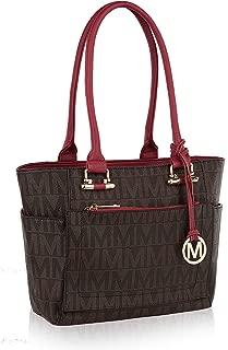 multi compartment leather handbag