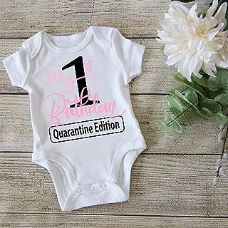 My First Birthday in Quarantine Onesie Toddler - Funny Birthday Onesie - Quarantine Bodysuit Kids - 1st cake smash toddler - Girl Birthday onesie - 1QG