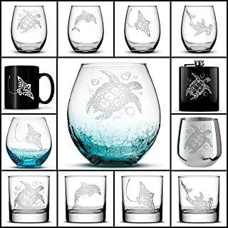 Integrity Bottles, Choose your Sea Life Glass with Sea Turtle, Dolphin, Stingray, or Hamerhead Shark, Etched on Wine, Beer, Whiskey, Pint Glasses, Coffee Cup or Mug