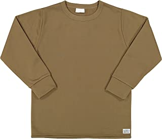 Men's Cold Weather Fleece-Lined Crew Neck Thermal ECWCS Undershirt Top with Pin