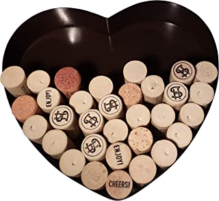 Heart Shaped Wine Cork Holder Metal Decorative Display Wall Art Decor. Great Gift for Any Wine Lover.