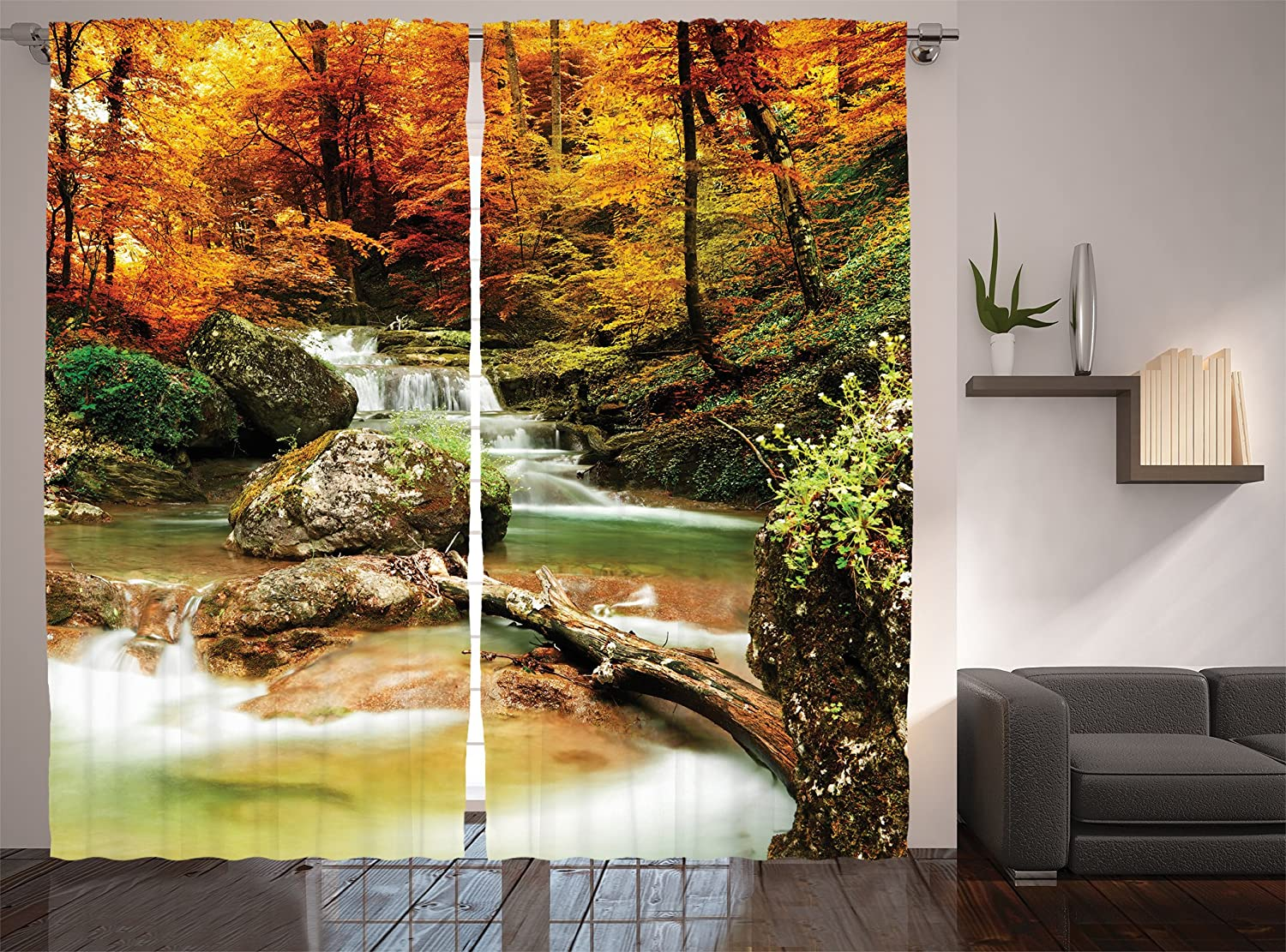 Ambesonne Waterfall Decor Collection, Autumn Creek Woods Trees and Foliage Rocks in Forest Picture, Window Treatments, Living Room Bedroom Curtain 2 Panels Set, 108 X 84 Inches, orange Green Beige