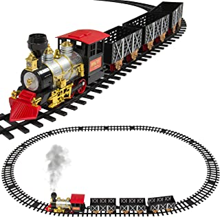 Best Choice Products Kids Classic Battery Operated Electric Railway Train Car Track Set for Play Toy, Decor w/ Real Smoke, Music, Lights - Multicolor