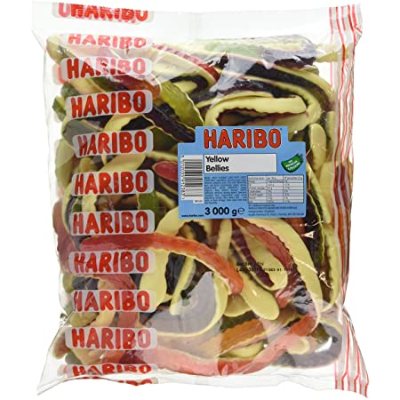 HARIBO Yellow Belly Giant Snakes, Yellow Bellies Bulk Sweets, 3kg