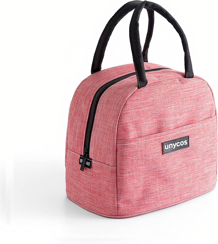 unycos - Bolsa Térmica Porta Alimentos - Bolsa Térmica para Comida - Bolsa de Almuerzo Térmica Impermeable | Ligera - Portátil - Isotérmica - 21 x 25 x 13.5 cm (Rosa)
