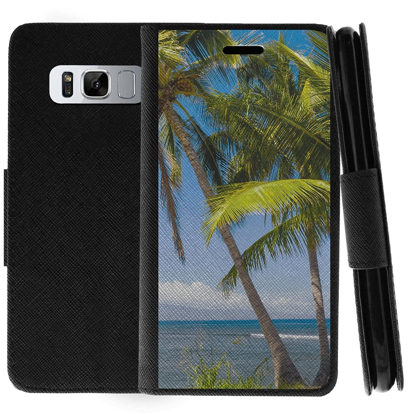 TurtleArmor | Samsung Galaxy Note 8 Case | N950 | Flip Kickstand Leather Flip Wallet Case Cover with Card Slots Ocean Beach Design - Coastal Shore