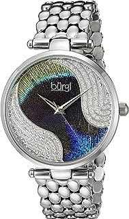 Burgi Women's BUR162 Genuine Swarovski Crystal Peacock Feather Pattern Dial with Case on Stainless Steel Bracelet Watch