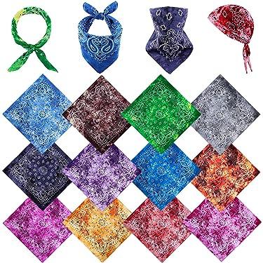 Motarto 12 Colors Tie Dye Paisley Bandanas Cotton Headscarf Classic Paisley Bandanas Handkerchiefs for Men and Women