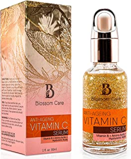 Vitamin C Serum for Face with Hyaluronic Acid – Anti Ageing and Anti Wrinkle Face Serum with Vitamin B and E – Skin Moisturiser for Men and Women – Natural Face Serum to Restore Collagen