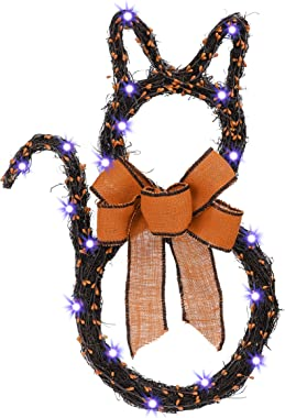 Valery Madelyn 24 Inch Pre-Lit Halloween Black Cat Wreath with Barry Led String Lights for Front Door, Halloween Decoration w