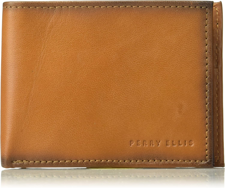 Perry Ellis Men's RFID Burnished Bifold Wallet, tan, 1sz