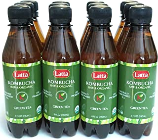 Kombucha Green Tea, Raw and Organic, only 2 gm of sugar, Promotes Healthy Weight Loss, Packed with Probiotics, Certified Kosher, All Natural and Gluten Free, Pack of 12, 8 oz Bottles