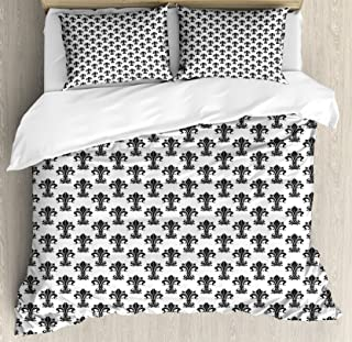 Ambesonne Fleur De Lis Duvet Cover Set, Historical European Heraldry with Rich Iris Buds and Curved Leaves, Decorative 3 Piece Bedding Set with 2 Pillow Shams, Queen Size, White and Black