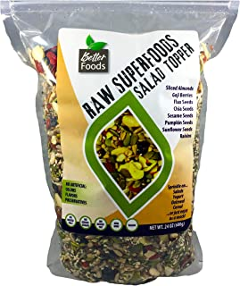 Raw Superfoods Salad Toppings Mix (Goji Berries, Raisins, Almonds, Chia, Flax, Pumpkin, Sesame and Sunflower Seeds) 24 oz