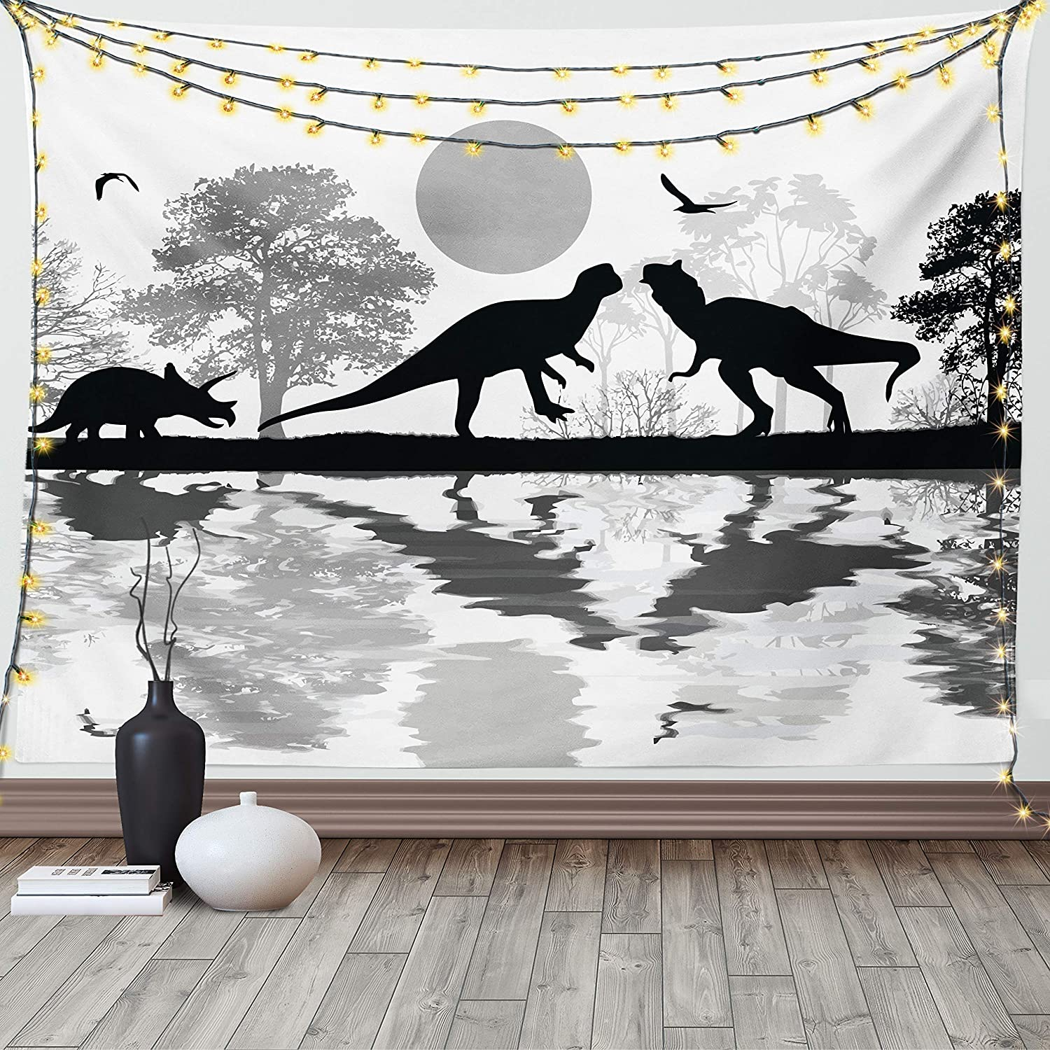 Lunarable Dinosaur Tapestry Prehistoric Silhouettes Award Landscap in Our shop OFFers the best service