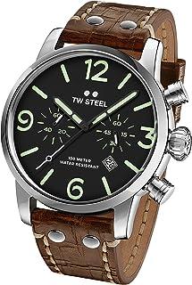 TW Steel Men's Maverick Stainless Steel Quartz Watch with Leather Calfskin Strap, Brown, 22 (Model: MS13)
