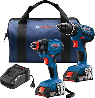 Bosch GXL18V-232B22 18V 2-Tool Kit with 1/2 In. Compact Tough Drill/Driver, 1/4 In. and..